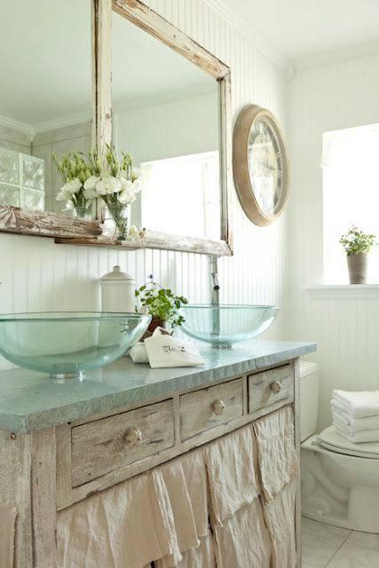 Clear Glass Shabby Chic Bathroom