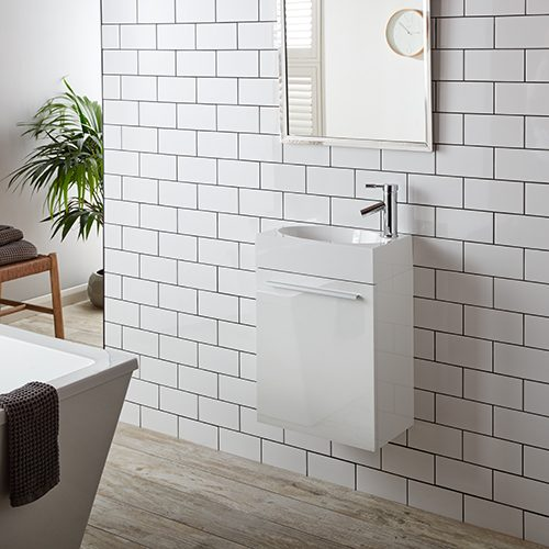 wall hung bathroom cabinets are an efficient use of floor space