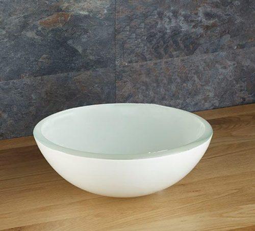 White Glass Bathroom Bowl
