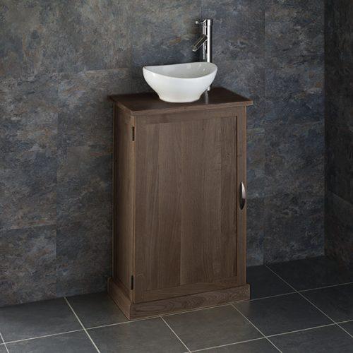 Narrow Dark Oak Bathroom Vanity Unit with Oval Basin