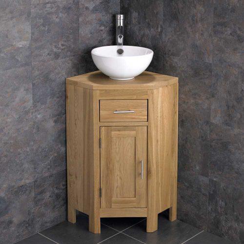 Medium Corner Oak Vanity Unit with Ceramic Round Basin plus Tap and Waste Alta
