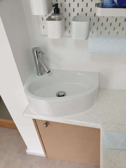 Small Wash Basin Fitted In A Clinic With Limited Space