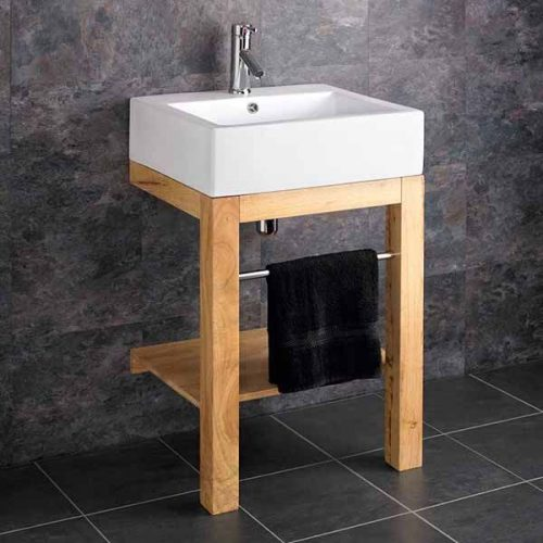 Belfast Style Bathroom Basin Bundle Ceramic White with Wooden Stand Chrome Towel Rail Tap and Waste Verona
