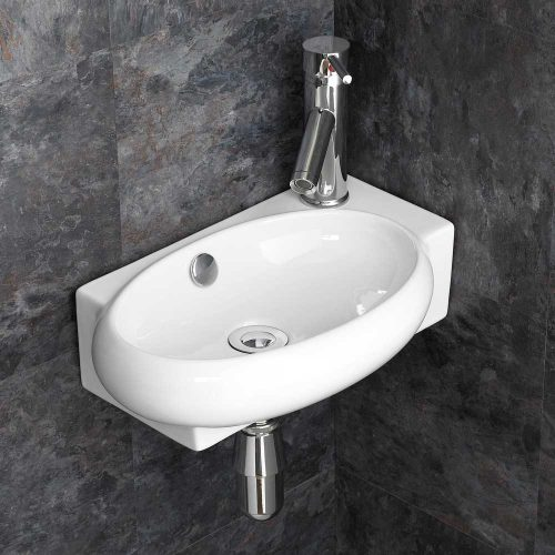 Oval Corner Basin in White Ceramic Right Hand 430mm for Cloakroom or Ensuite Lecce