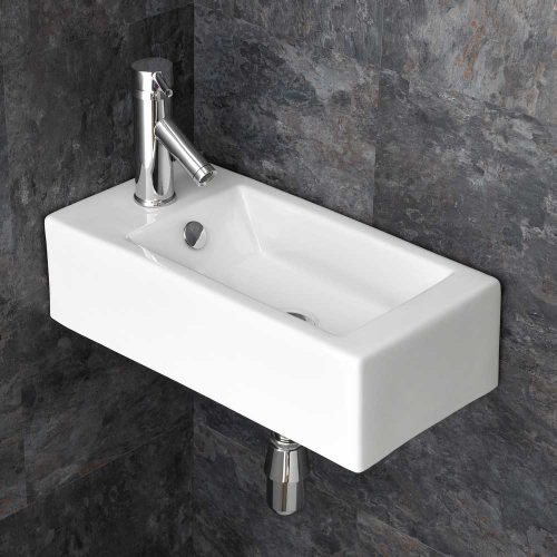 Narrow Rectangular Left Hand White Corner Basin 500mm for Cloakroom or En Suite Lucca