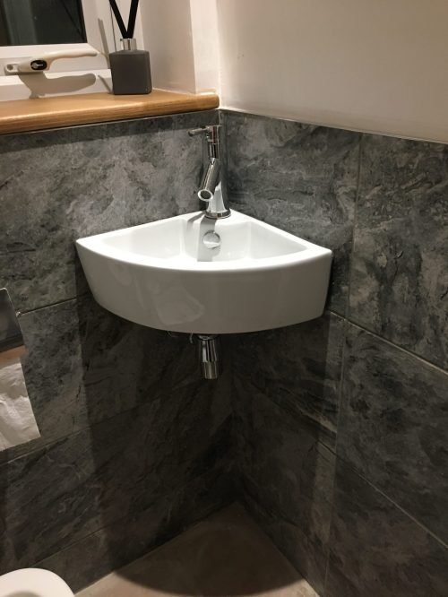 Small Wall Mounted Corner Basin in White Ceramic 400mm x 310mm Cloakroom or Ensuite Sink Olbia