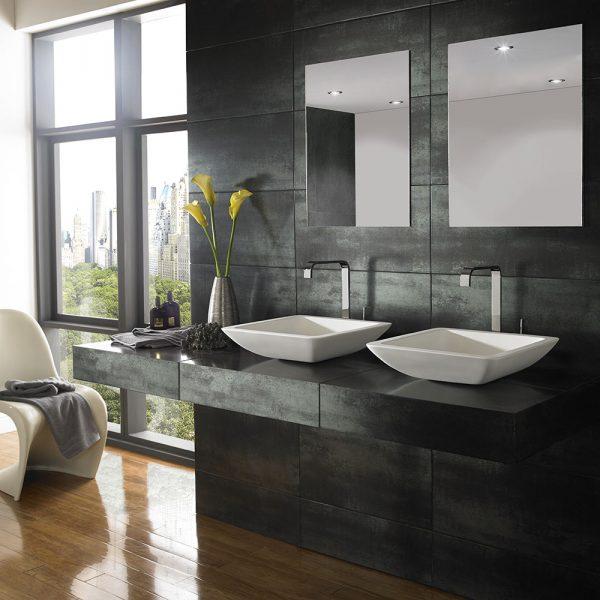 Square Countertop Bathroom Basin in White Stone Resin 425mm Square Freestanding Sink Agio