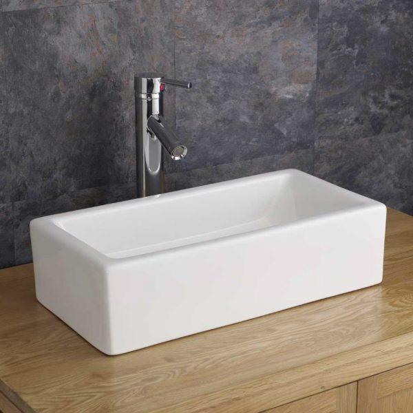 Narrow Countertop Bathroom Basin in White Ceramic 490mm x 250mm Freestanding Sink Treviso