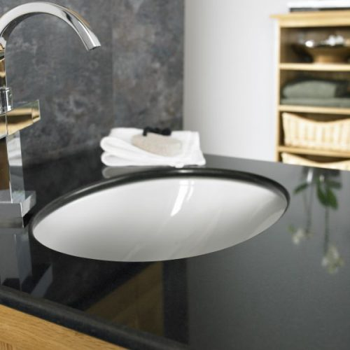 undercounter style basins create a neat, minimalistic look