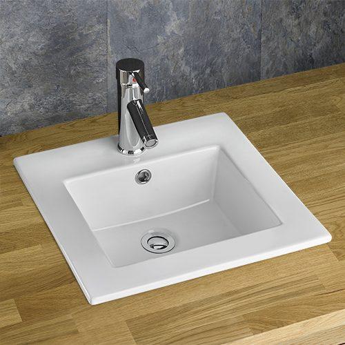 Square Self Rimming Inset Bathroom Basin in White Ceramic 420mm Square Sink Berne