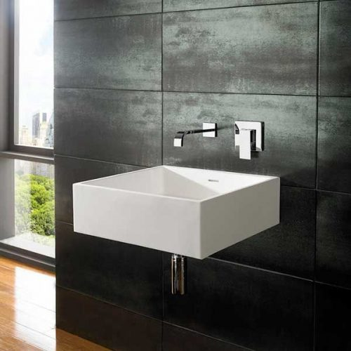 Stone resin basin with wall hung taps