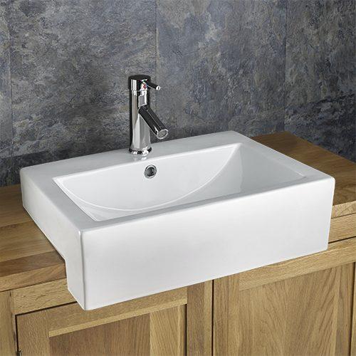Large Semi Recessed Bathroom Basin Rectangular in White Ceramic 540mm x 440mm Sink Vienna