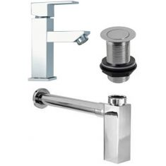 Chrome Square Low Tap Set: Tap Waste and Square Bottletrap for Basins with no Overflow