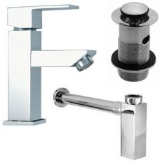 Chrome Square Low Tap Set: Tap Waste and Square Bottletrap for Basins with an Overflow