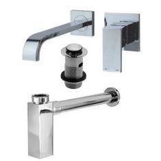 Square Tall Tap Waste and Bottle Trap Bundle in Chrome Unslotted Waste for Basins with No Overflow