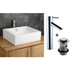 Large Rectangular Bathroom Basin Bundle White Ceramic 500mm x 450mm with Tall Tap and Waste Natal