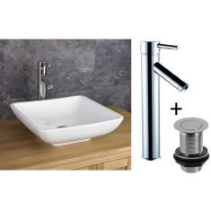 Square Countertop Bathroom Basin Bundle White Ceramic 400mm Square with Tall Tap and Waste Carrara