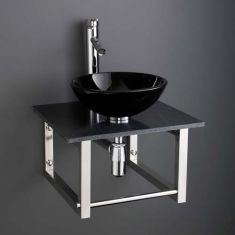 Round Bathroom Basin and 450mm Square Black Marble Shelf Bundle Black Glass Sink with Tap and Waste