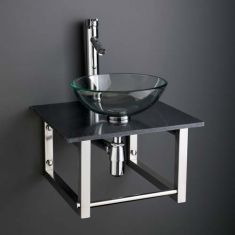 Round Bathroom Basin and Square Black Marble Shelf Bundle Clear Glass Sink with Tap and Waste Monza