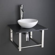 Cloakroom White Round Handbasin Set with 45cm Square Black Shelf 450B