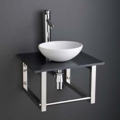 Round Bathroom Basin and Square 450mm Black Marble Shelf Bundle Ceramic Sink with Tap and Waste