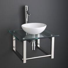 White Ceramic 32cm Cloakroom Round Bowl Set + Square Glass Shelf with Towel Rail 450G