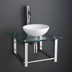 White Ceramic 32cm Cloakroom Round Bowl Set + Square Glass Shelf with Towel Rail 450G