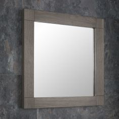 DUE END APRIL 2019 Grey Wash Solid Oak 600mm Square Wall Hung Bathroom Mirror