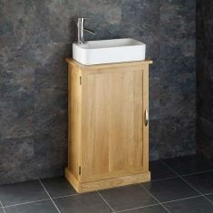 Shallow Cloakroom Oak Vanity Cabinet + Rectangular Torre Basin Set CUBE50