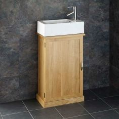 Clickbasin's Narrowest Oak Bathroom Vanity Cabinet with Lucca Rectangular Basin Set CUBE50