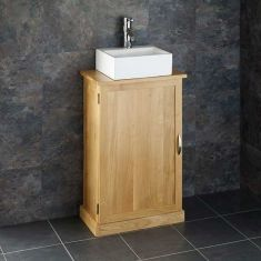 Narrowest Cloakroom Narrow Oak Vanity Cabinet + Small Rectangle Sink Set CUBE50