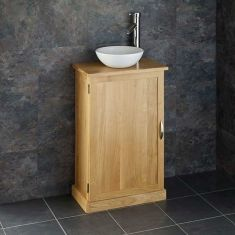 Shallow Depth Solid Oak Bathroom Vanity Just 290mm deep + Round Basin Set CUBE50