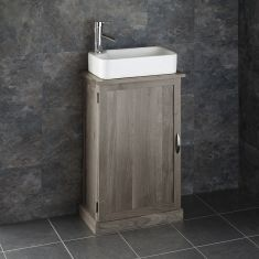 Narrow Cloakroom GREY WASH Oak Vanity Unit + Rectangle Torre Basin Set CUBE50G