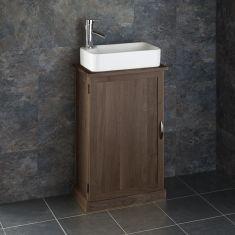 Narrow Cloakroom Dark Oak Vanity Cabinet + Rectangle Basin Set CUBE50