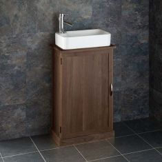 Narrow Oak Bathroom Vanity Unit with Rectangle Basin Bundle Dark Oak Cabinet and Ceramic Sink
