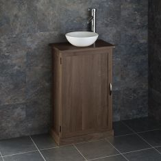 Narrow Dark Oak Bathroom Vanity Unit with Round Basin Bundle Solid Oak Cabinet and Ceramic 285mm Diameter Sink