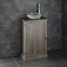 Slimline GREY WASH Solid Oak Bathroom Cabinet + Frosted Glass Basin Set CUBE50G
