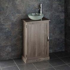 Slimline GREY WASH Solid Oak Bathroom Cabinet + Frosted Glass Basin Set CUBE50G