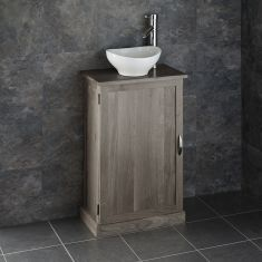 Narrow GREY WASH Solid Oak Bathroom Cabinet + Oval Ceramic Basin Set CUBE50G