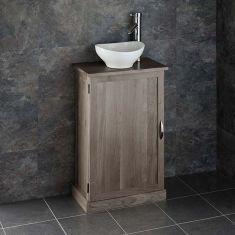 Narrow GREY WASH Solid Oak Bathroom Cabinet + Oval Ceramic Basin Set CUBE50G