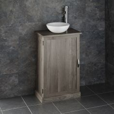 Narrow GREY WASH Solid Oak 500mm x 290mm Bathroom Vanity + Round Basin Set CUBE50G