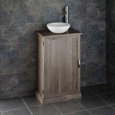 Narrow GREY WASH Solid Oak 500mm x 290mm Bathroom Vanity + Round Basin Set CUBE50G