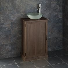 Dark Oak 500mm x 290mm Bathroom Unit + Frosted Glass Basin Set CUBE50