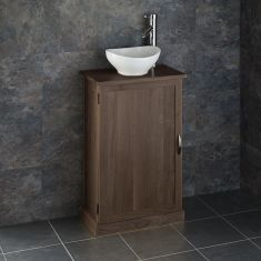 Slimline Dark Oak Cloakroom Vanity Cabinet + Oval Sink Set CUBE50