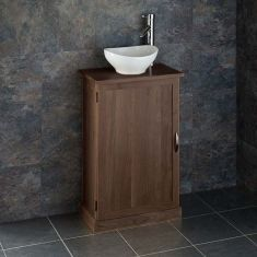 Narrow Dark Oak Bathroom Vanity Unit with Oval Basin Bundle Wenge Oak Cabinet and Ceramic 300mm x 280mm Sink