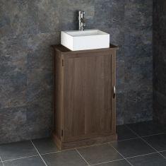 Slim Cloakroom Narrow Oak Vanity Cabinet + Small Rectangle Sink Set CUBE50