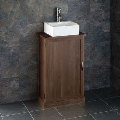 Narrow Dark Oak Bathroom Vanity Unit with Rectangle Basin Bundle Wenge Oak Cabinet and Ceramic 330mm x 290mm Sink