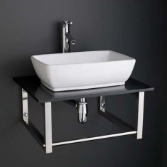 Large Rectangular Basin with Black Marble Shelf Bundle Ceramic Sink 480mm x 350mm with Tap Waste and Tap Palermo