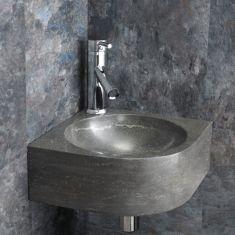 Corner Black Limestone Cloakroom Basin in Natural Stone 300mm Modici