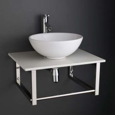 Round Basin with White Marble Shelf Bundle Ceramic Sink 320mm Diameter Sink with Tap Waste and Trap
